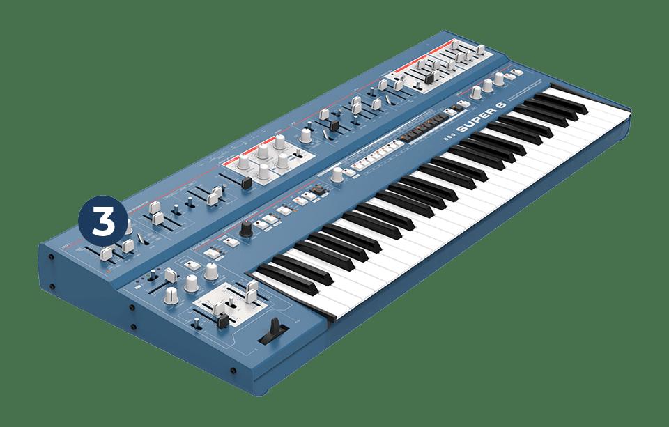 UDO Keyboard erstes Modell in blau, Prototyp entwickelt von HMT Rüffel